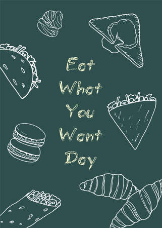 Poster Eat What You Want Day. Holiday concept. Template for card, banner, flyer with text inscription. Vector white illustration.