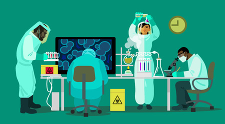 contagious: Clinical laboratory. Vector illustration in flat style.