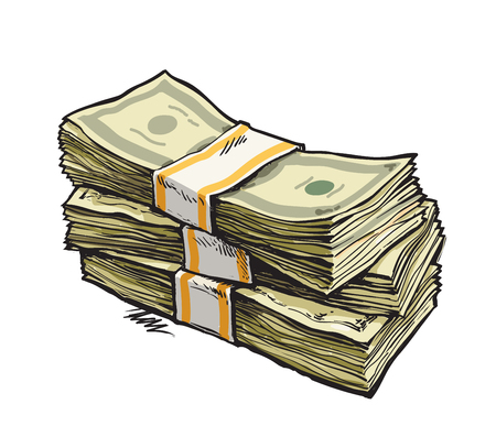 bills: Stack of money. Dollar bills. Hand drawn vector illustration. Isolated.
