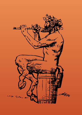 Satyr playing flute on orange background Illustration