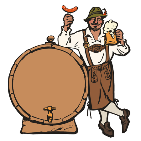 Cheerful Bavarian man with beer mug and sausage leaning on barrel. Hand drawn vector in sketch style isolated on white background.