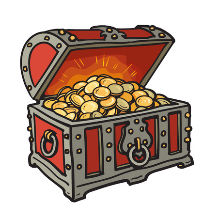 chest with gold coins cartoon style Illustration