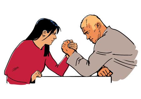 Man and woman arm wrestling. Illustration