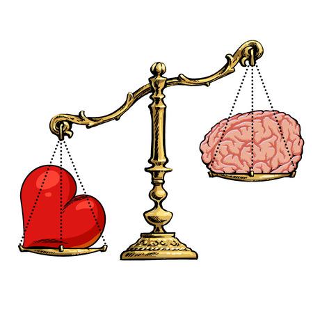 心と脳のスケール。選択の概念。  イラスト・ベクター素材