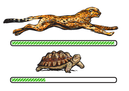 Gepard i żółw. Pasek szybkiego i wolnego ładowania. Ilustracje wektorowe