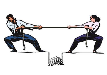 Przeciąganie liny. Mężczyzna i kobieta ciągnąc linę.