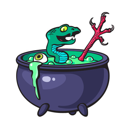 boiler: Halloween witches cauldron. Illustration