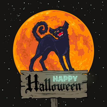 Halloween black cat on full moon background. Handdrown cartoon vector illustration. Text Happy Halloween.