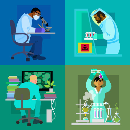 Science design concept set. Working in laboratory..Four scientists conducting research Theory experiment invention. Flat isolated vector illustration.