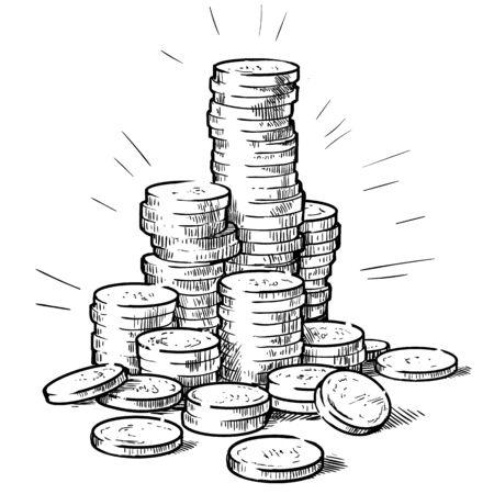 Stosy monet Ilustracje wektorowe