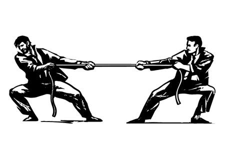 Touwtrekken Vector illustratie op witte achtergrond.