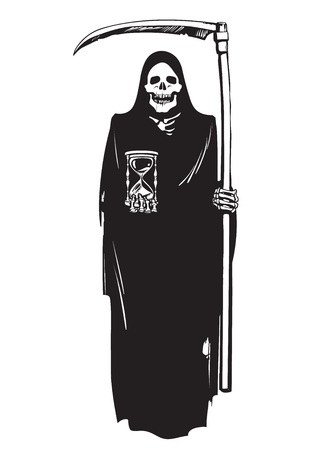 Death with hourglass and scythe Vector illustration on white background. Vettoriali