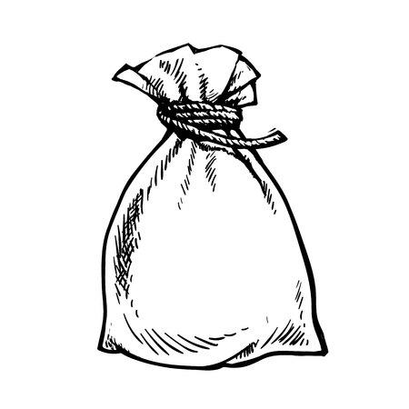 Full sack. Sack of money. Sack of flour. Gift bag. Had drawn vector illustration Stock Illustratie