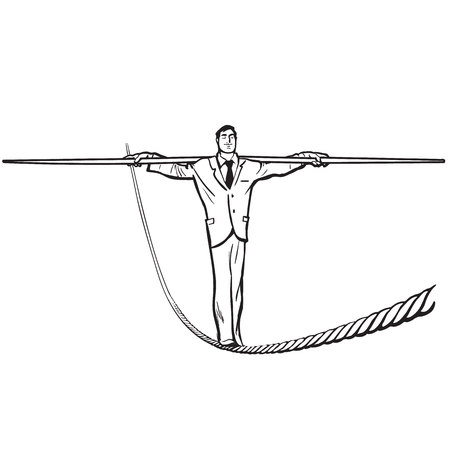 Businessman - rope walker. Stability and courage business concept. cartoon hand drawn vector illustration in sketch style. Isolated on white background