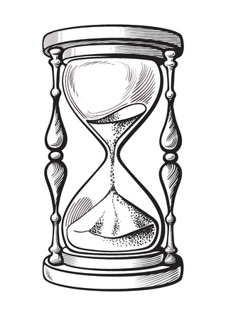 Hourglass black and white hand drawn sketch vector illustration isolated on white background.