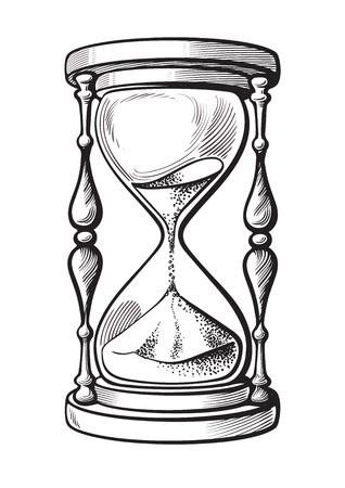 Reloj de arena blanco y negro dibujado a mano ilustración vectorial boceto aislado sobre fondo blanco.
