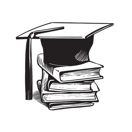 Academic graduation cap on stack of books. Education concept hand drawn vector illustration in sketch style isolated on white background.