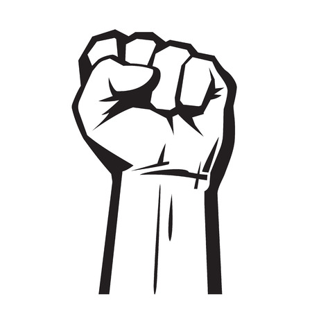 Raised hand with clenched fist. Vector illustration isolated on white background Vectores