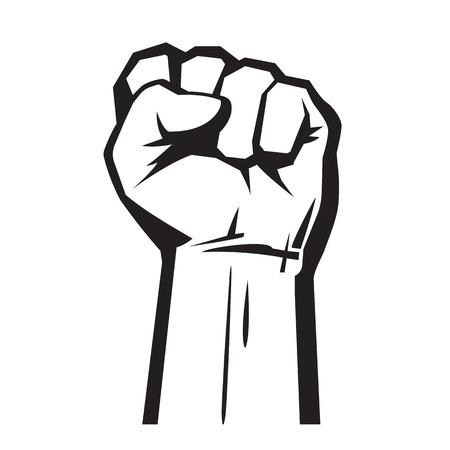 Main levée avec le poing fermé. Illustration vectorielle isolée sur fond blanc