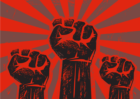 Three clenched fists raised in protest on grunge background with sun rays. Retro style poster. Protest, strength, freedom, revolution, rebel, revolt concept. Black and red vector illustration