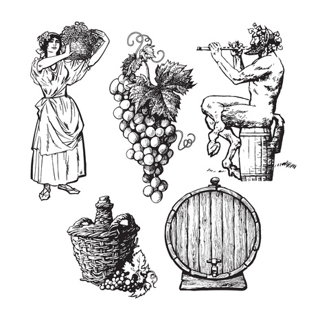 Set of hand drawn elements for wine design