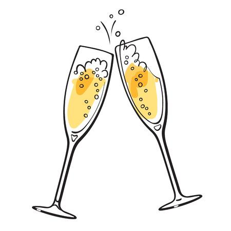 Twee sprankelende glazen champagne