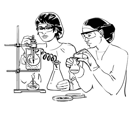 Two female scientists with test tubes Illustration