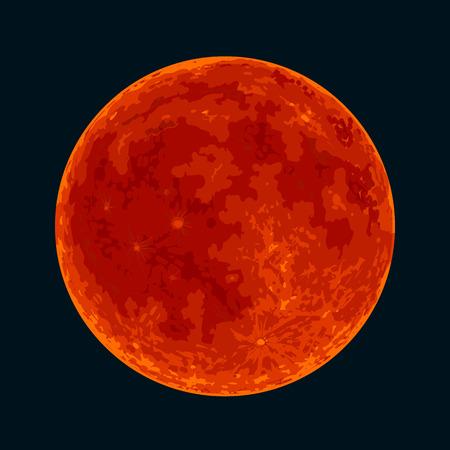 Luna piena di sangue rosso su sfondo nero