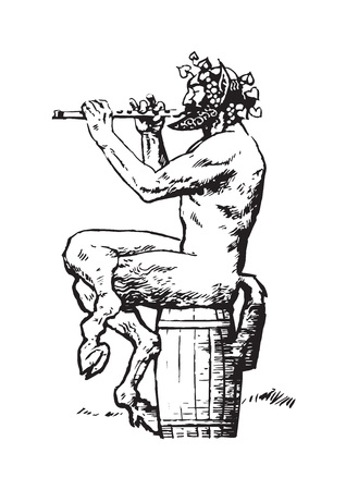 Satyr sitting on the barrel and playing the flute Ilustração