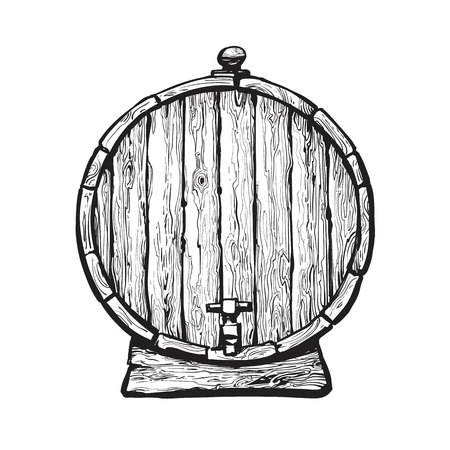 Old wooden barrel with tap Stock Photo