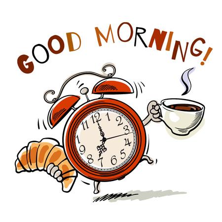 Wekker met kopje koffie en croissant