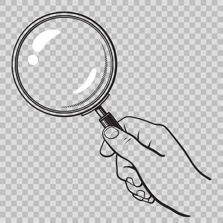 Hand holding magnifying glass on transparent background