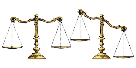 Gold scales balanced and unbalansed