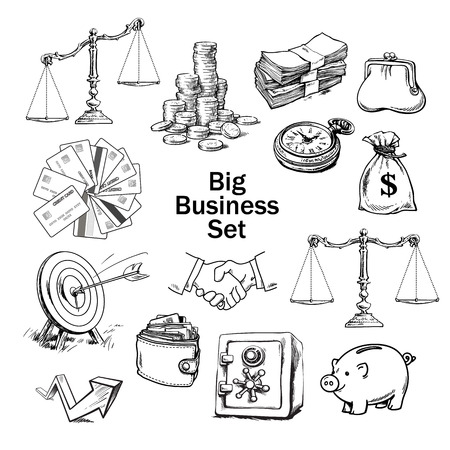 Black and white sketchof business set