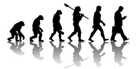 Teoria ewolucji człowieka. Sylwetka z odbiciem. Ilustracje wektorowe