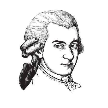 Wolfgang Amadeus Mozart. Retrato de vector.