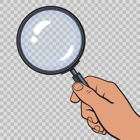 Hand holding magnifying glass on transparent background. Vector.