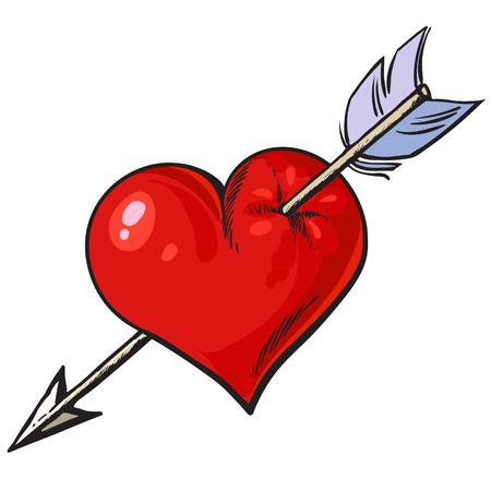 Cartoon red heart pierced by an arrow. Vector.