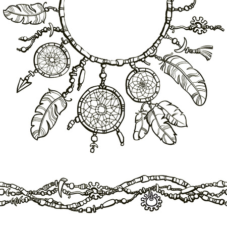 Dream catcher. Seamless border made from beads. Boho style decoration.