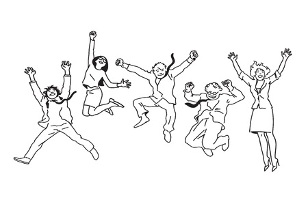 Business people men and women jumping for joy. Vector.