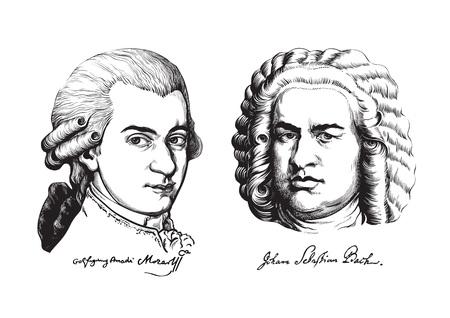 Wolfgang Amadeus Mozart and Johann Sebastian Bach. Vector. Illustration
