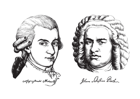 Wolfgang Amadeus Mozart and Johann Sebastian Bach. Vector. Illustration