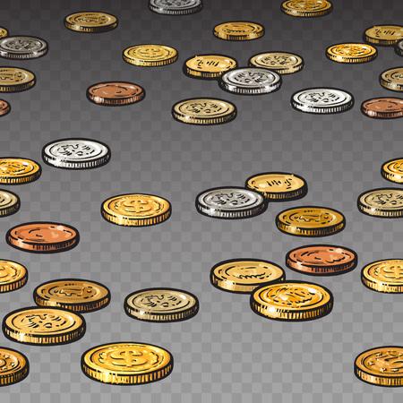 Diferentes monedas aisladas sobre fondo transparente. Frontera sin costuras.