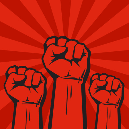 Three clenched fists on red grunge background with sun rays.