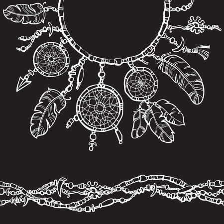 Boho style dreamcatcher design for collar t-shirts. Seamless border from beads. Illustration