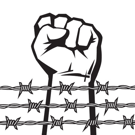 Raised hand with clenched fist behind barbed wire. Vector. Illustration