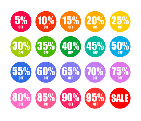 Set of round discount tags 10 15 20 25 30 35 40 45 50 55 60 65 70 75 80 85 90 percent off in colors of rainbow Holiday discount offer Vector illustration isolated on white background