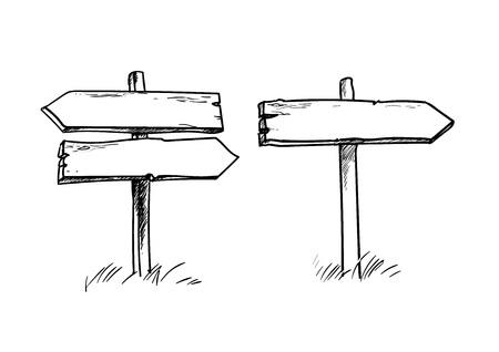 Satz alte hölzerne Wegweiser. Doppel- und Einzelwegweiser. Handgezeichnete Vektorillustration in der Skizzenart lokalisiert auf weißem Hintergrund.
