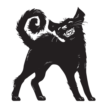 Cartoon creepy black cat isolated on white background. Halloween character. Hand drown sketch style vector illustration. Illustration