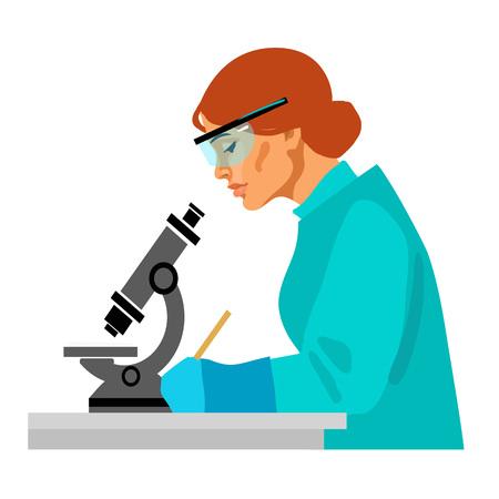Científico de la mujer mirando a través del microscopio y la escritura. Asistente de laboratorio mujer trabajando en la mesa con potective gafas y guantes de goma. Ilustración de vector plano de dibujos animados aislado en blanco.